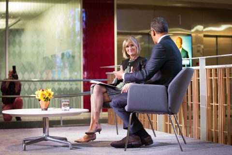USC Annenberg Dean Willow Bay, with NBC's Lester Holt