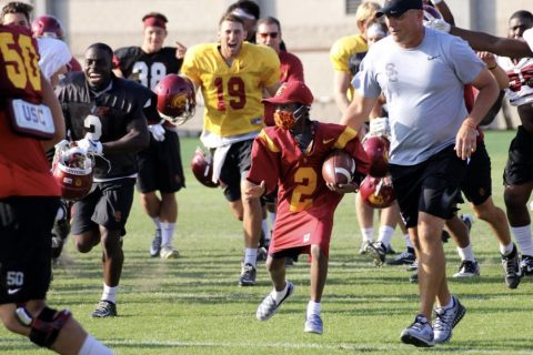 USC football fan and leukemia patient Taylor Hammond at USC practice