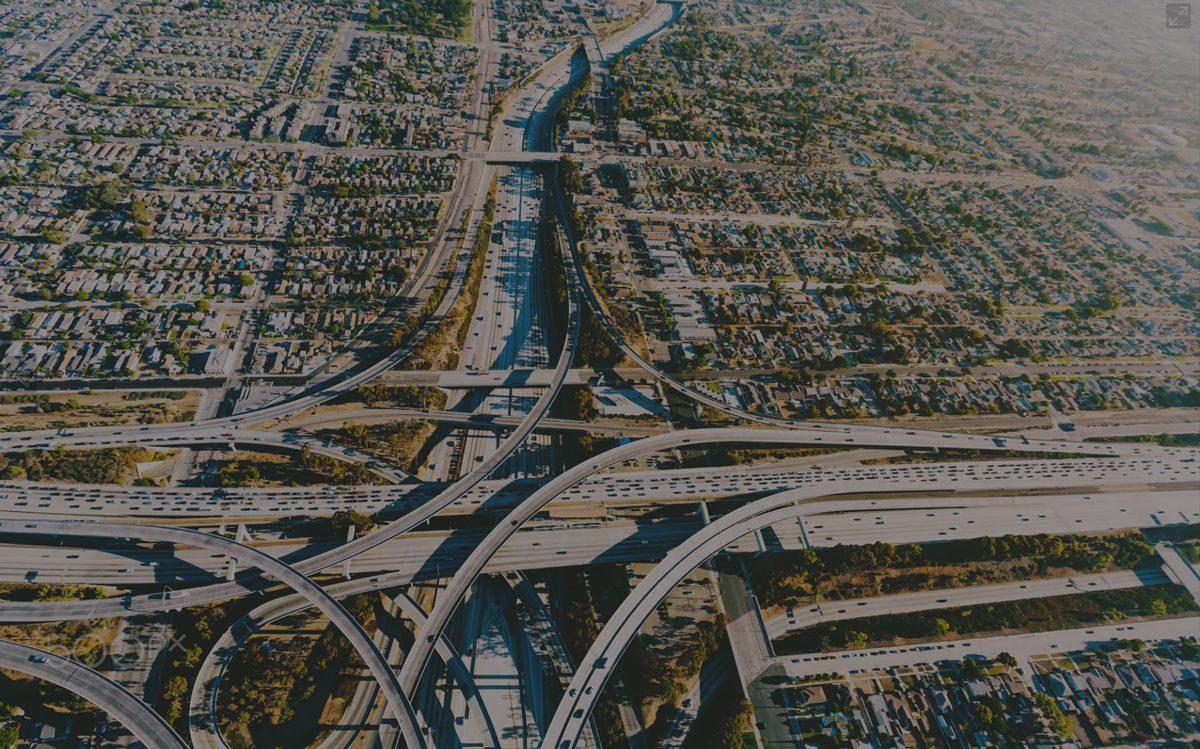 Aerial photo of LA freeways
