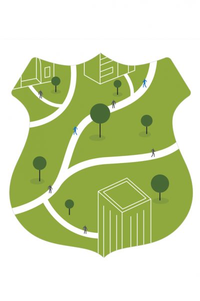 Illustration of a park in a police badge shape