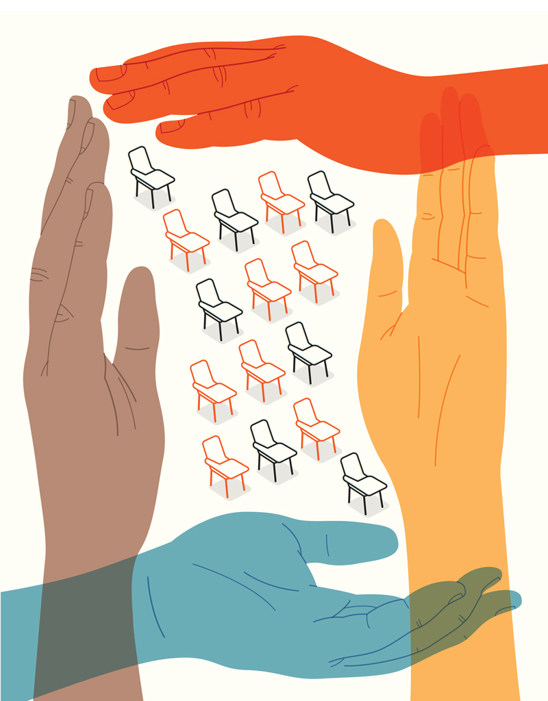 Illustration of hands protecting school chairs