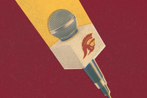 usc broadcast journalism alumni microphone with logo