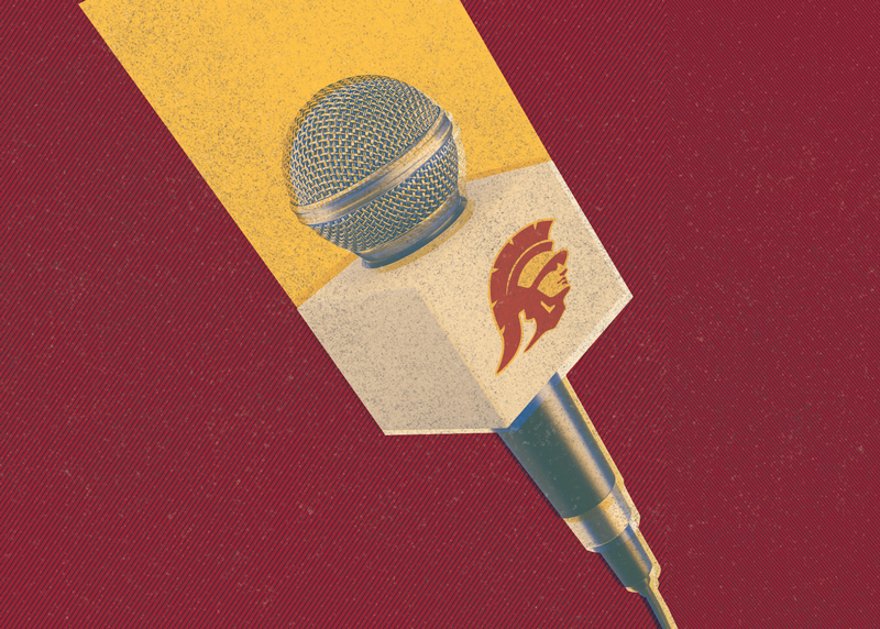 usc broadcast journalism alumni microphone with logo
