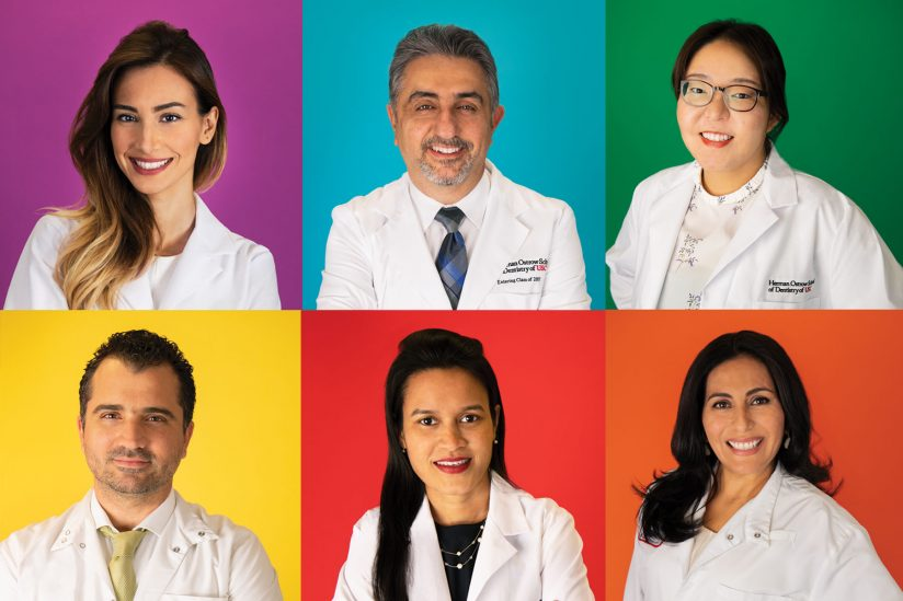 USC international dentistry students Melika Haghighi, Armen Babaian, Gauen Lee, Catherine Begazo, Subashini Natarajan and Rene Gacives Vega