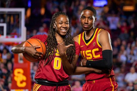 USC basketball players Shalexxus and Shaqquan Aaron