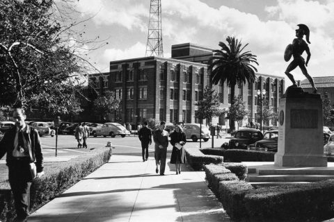 History of the USC campus: Historical image of Tommy Trojan