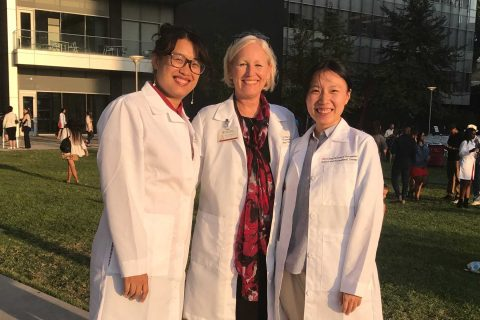 "USC Chan China Initiative scholars Yijun ""Jane"" Liu and Hui ""Angela"" Wang with Julie McLaughlin Gray"