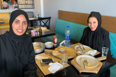 Acting class in Saudi Arabia: Anne DeSalvo with talent coordinator Hajar Alnaim