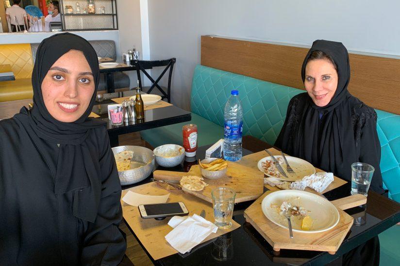 Acting class in Saudi Arabia: Anne DeSalvo with talent coordinator Hajar Alnaim