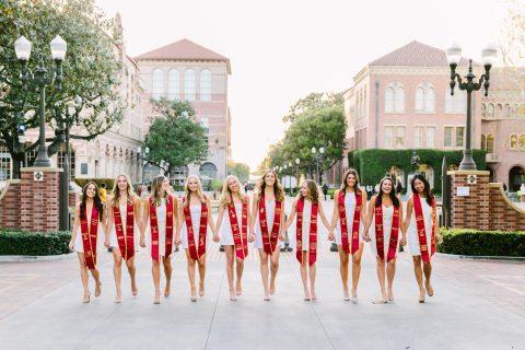 USC white graduation dress