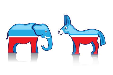 Illustration: GOP elephant and Democrat donkey