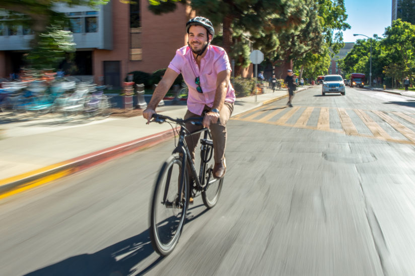biking to work in LA