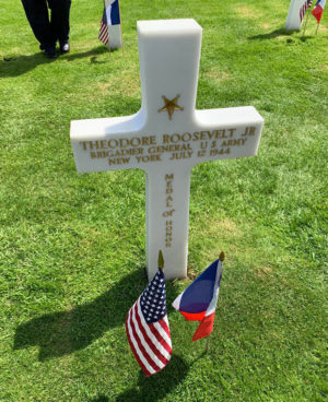 Normandy grave marker for Theodore Roosevelt, Jr.