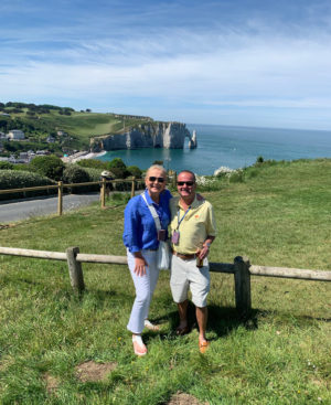 Shirley and Basil Christopoulos pose in Normandy