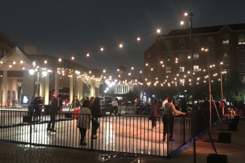 USC Village ice rink skating