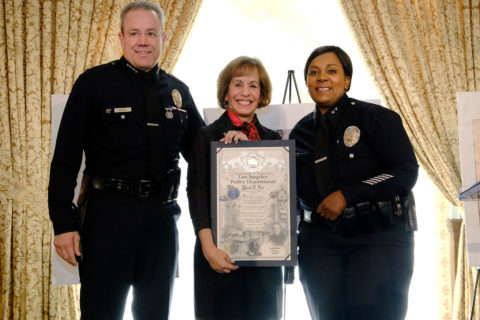 Chief Michel R. Moore, President Carol L. Folt and Deputy Chief Regina Scott
