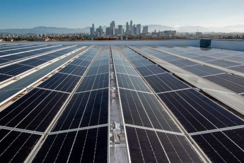 Solar panels atop Galen Center at USC