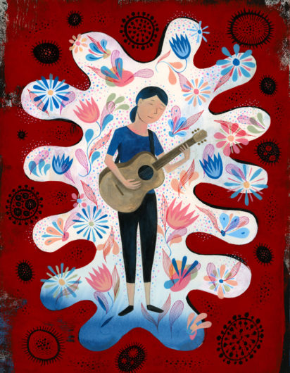 Person playing guitar. (Illustration/Scott Bakal)