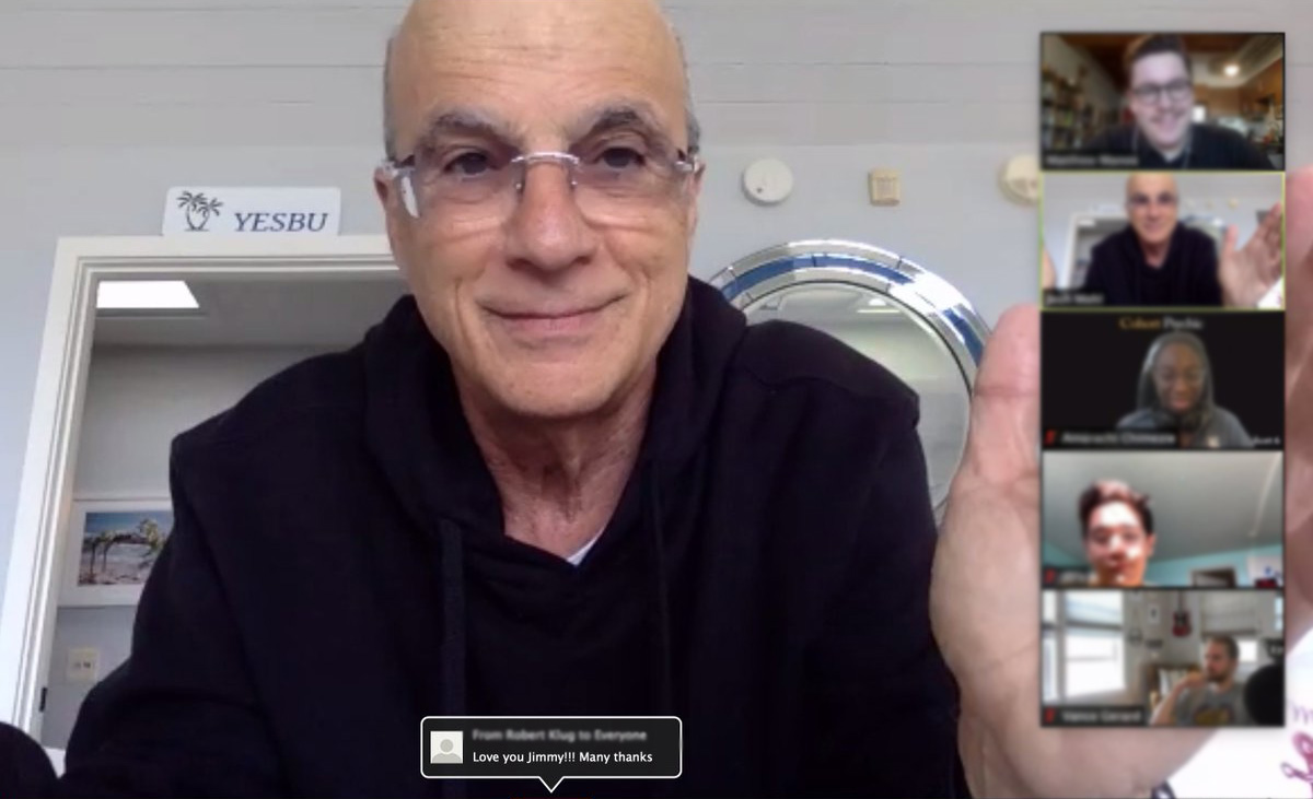 Jimmy Iovine on Zoom call with students from the USC Iovine and Young Academy