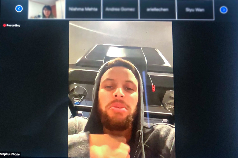 Steph Curry on Zoom call with students