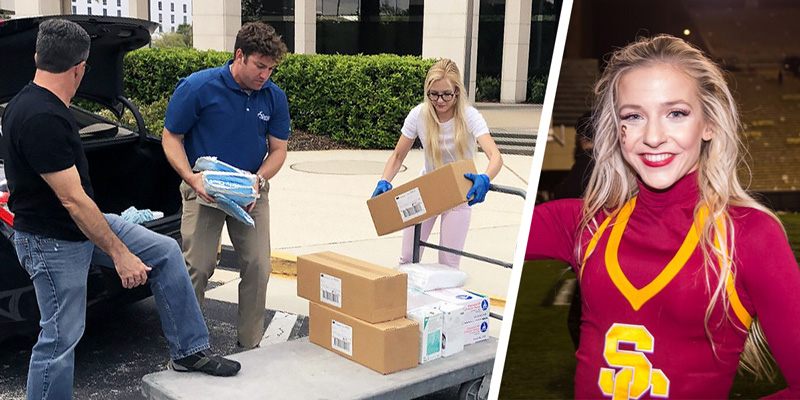 (Left) MacKenzie McClung helping health workers with boxes. (Right) MacKenzie McClung in USC cheerleader uniform