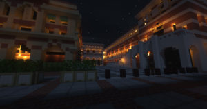 Picture of University Park Campus recreated in Minecraft.
