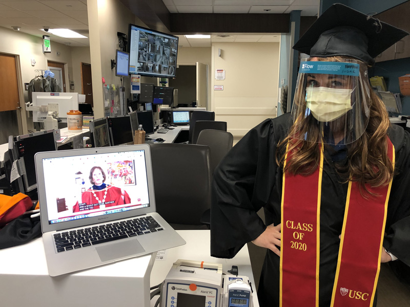 Jennifer Dixon in cap and gown for virtual class of 2020 celebration