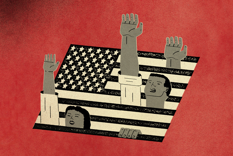 Abstract illustration of people with their hands up coming out of the American flag
