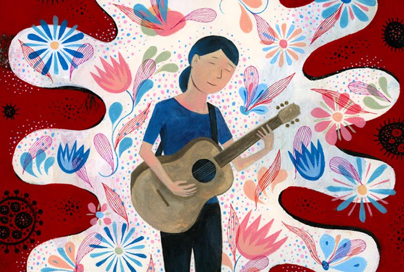 Person playing guitar. (Illustration/Scott Bakal)