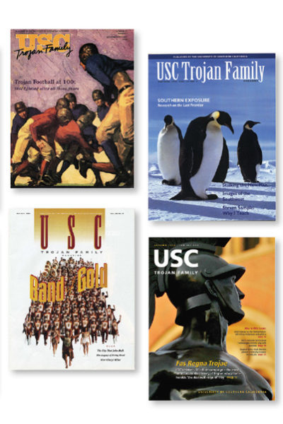 USC Trojan Family Magazine covers of the past and present
