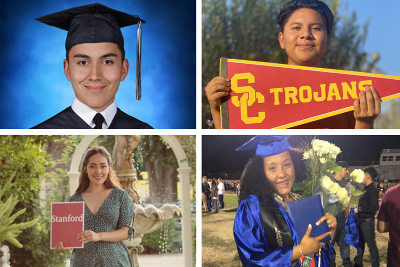 four students going to their dream colleges
