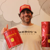 Matt Bercovitz and popcorn bags