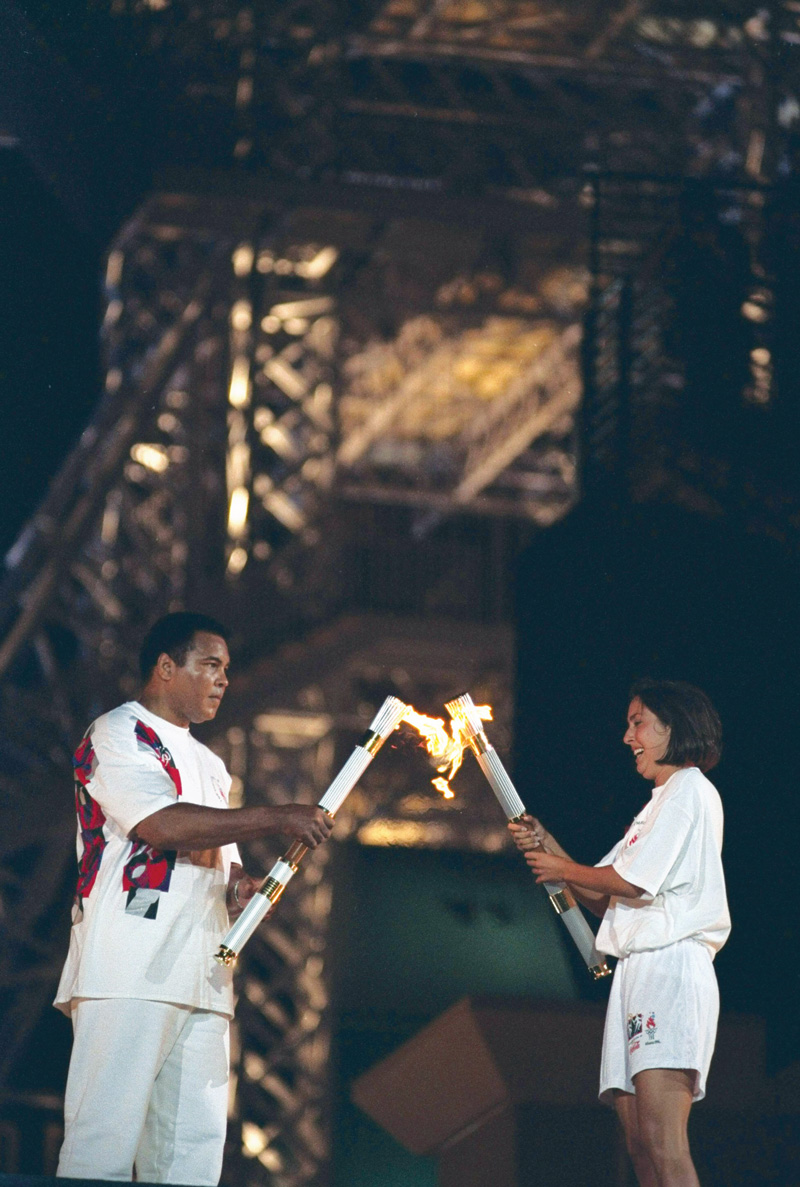 Janet Evans and Muhammad Ali 1996 Olympics torch
