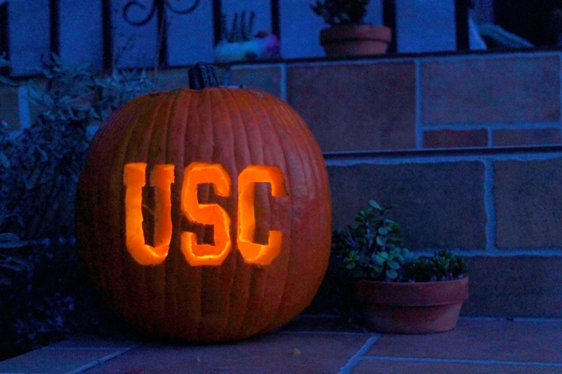 Jack-o-lantern made with USC pumpkin stencils