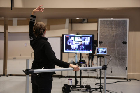 USC instructor teaching dance remotely