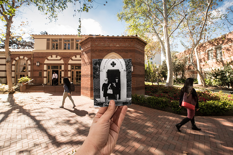 Little Chapel of Silence at USC in 1960s and 2018