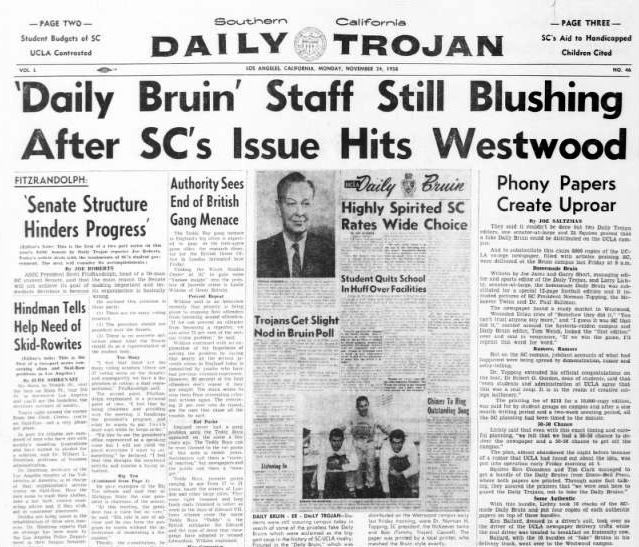The Daily Trojan's Nov. 24, 1958 edition with a story of the student prank.