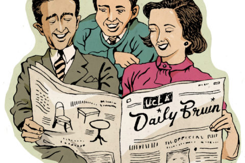 students read fake newspaper in USC-UCLA prank