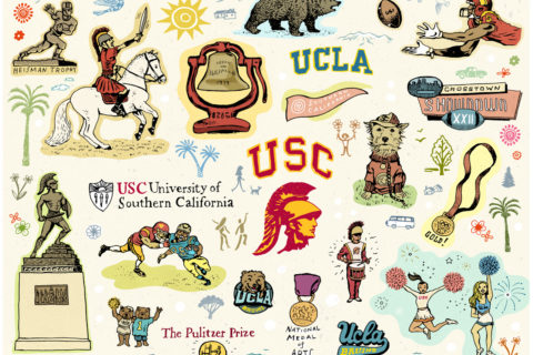 Illustrations of USC and UCLA symbols, including Tommy Trojan, football players, cheerleaders, Olympic medals, band members, and academic honors