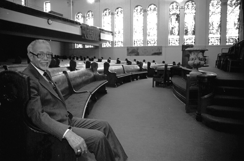 Rev. Thomas Kilgore Jr. seated at Second Baptist Church in 1985.