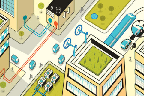 Illustration of a futuristic sustainable city with roof lawns
