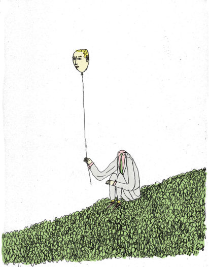 impostor syndrome illustration of man with balloon