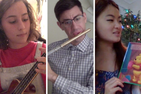Three images of USC Thornton students: Chandler Lawn with a ukelele, Marley Eder with a flute, and Shelby Wong reading a children's book.