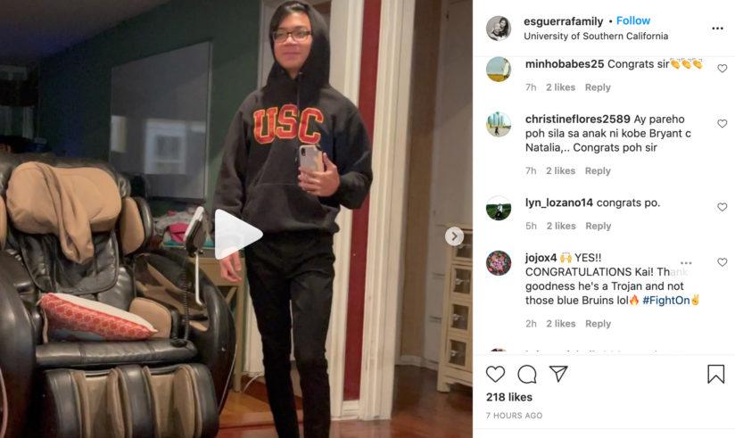 USC student celebrating on instagram