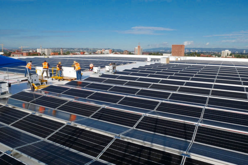 Solar panels on Galen Center roof