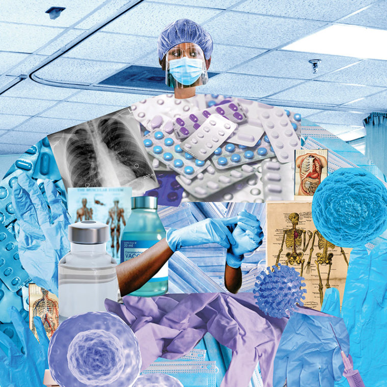 Photo collage of health care worker with test tubes, syringes and personal protection equipment.