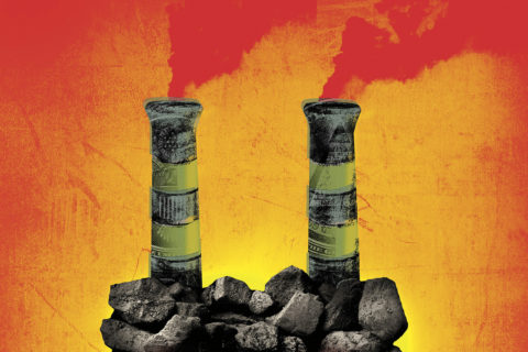 Illustration of a malevolent-looking face made of rocks with red eyes and two smokestacks rising from its forehead against a yellow, orange and red background