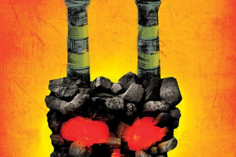 illustration dramatizing fossil fuels effect on human health