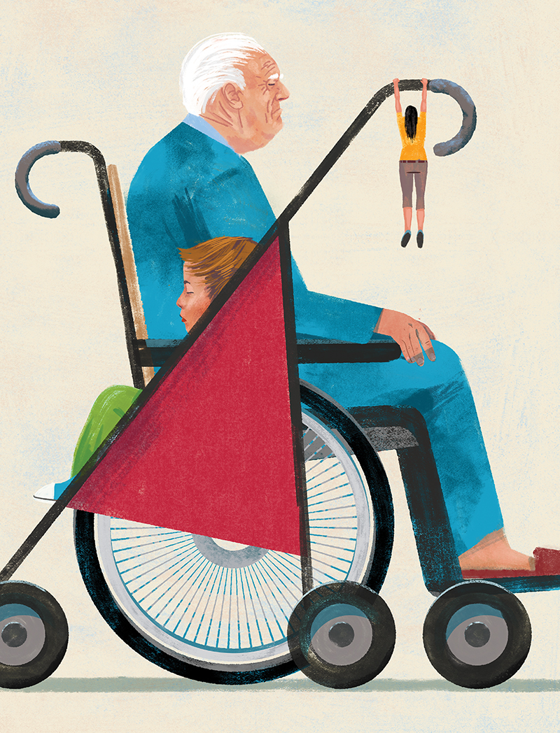 Illustration of a mother hanging from the handle of a boy's stroller next to a senior in a wheelchair