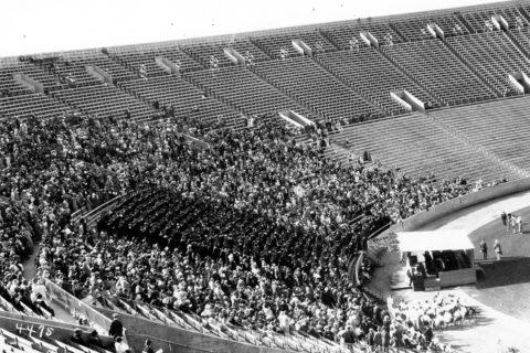 1924 USC graduation photo of first Coliseum commencement